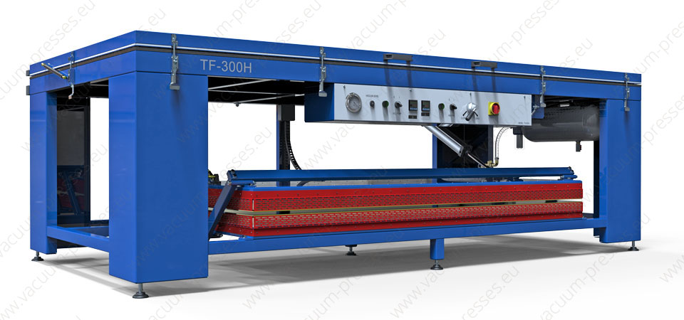 Vacuum membrane press TF-300H for solid surfece materials preheating and shaping